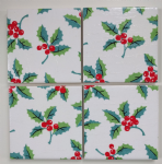 4 Ceramic Coasters in Cath Kidston Christmas Holly and Berries